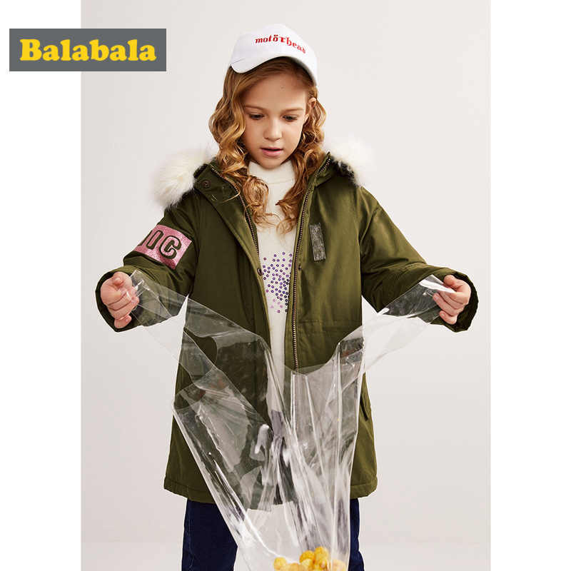 Balabala ילדה כפור-משלוח ארוך מעיל עם נתיק פו-פרווה-Trimed באופן הוד בגיל ההתבגרות ילדה סלעית מעיל מיקוד וצמד סגר
