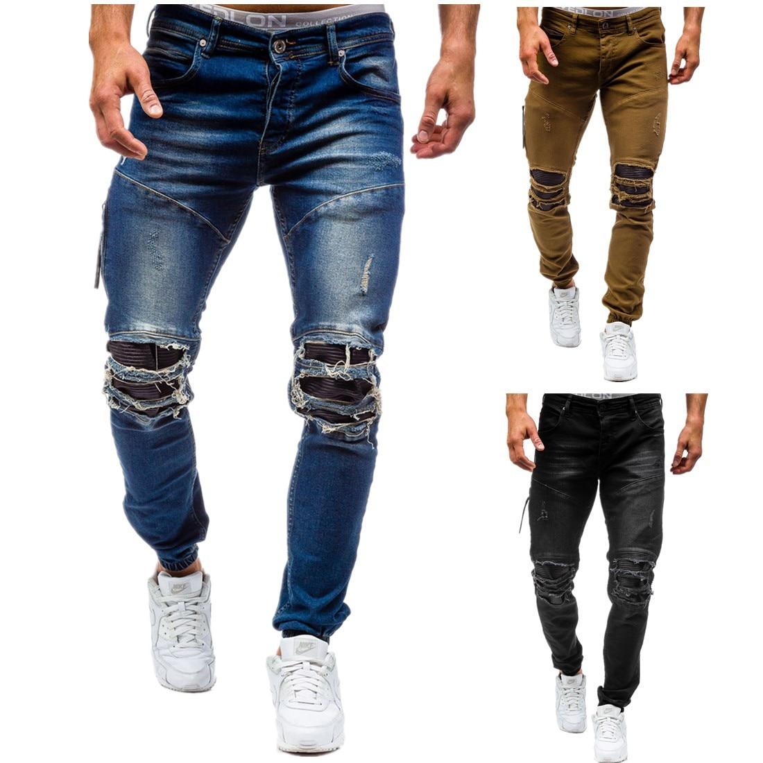Men's plus-size cotton jeans new denim trousers men's slim solid color high-grade spring autumn ripped 80s pants