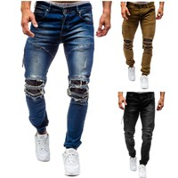 Men's plus size cotton jeans new denim trousers men's slim solid color high grade spring autumn ripped 80s pants