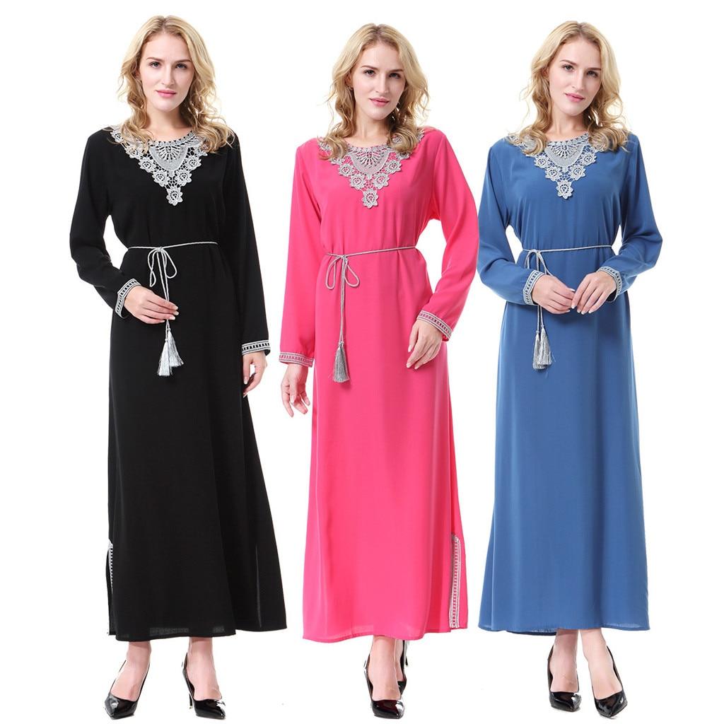 Baju Open Kimono Kaftan Djellaba Robe Women Muslim Arab Islamic Middle East Ethnic Solid Lace Long Sleeve Abaya DressY57