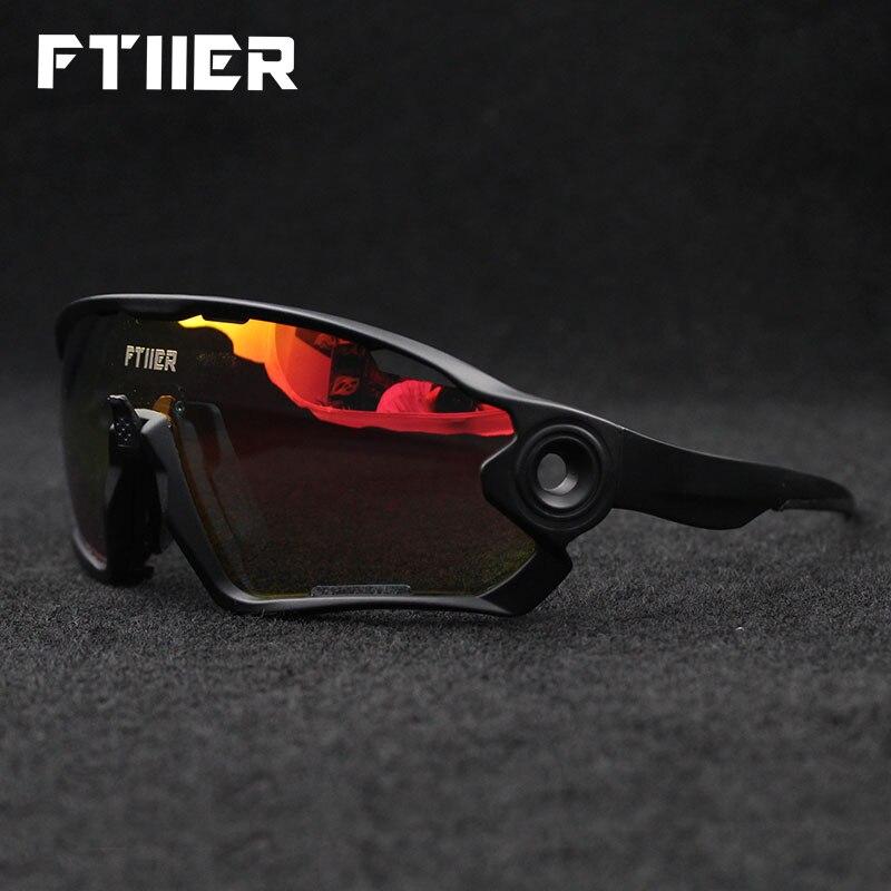 Ftiier Cycling Glasses UV400 Photochromic Bicycle Bike Sunglasses MTB Outdoor Sports Riding Fishing Hiking Eyewear Goggles