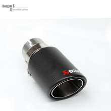 63mm / 89mm Carbon Fiber & 304 Stainless Steel Tailtip End Pipe Auto Akrapovic Muffler Exhaust Tip For BMW 1 piece Universal Car