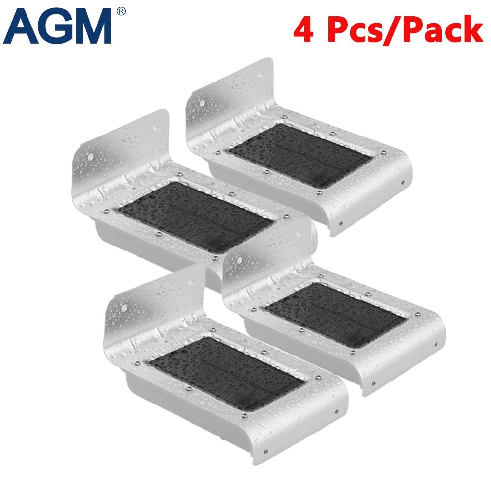 AGM 4Pcs/Lot LED Solar Lamp Solar Sensor Light Outdoor Solar Panel Powered Garden Security Light Sunlight For Yard Patio Pathway