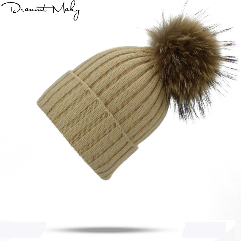 Brand Female Real fur ball cap pom poms winter hat for women girl 's hat knitted   beanies   cap brand new thick   Skullies     Beanies