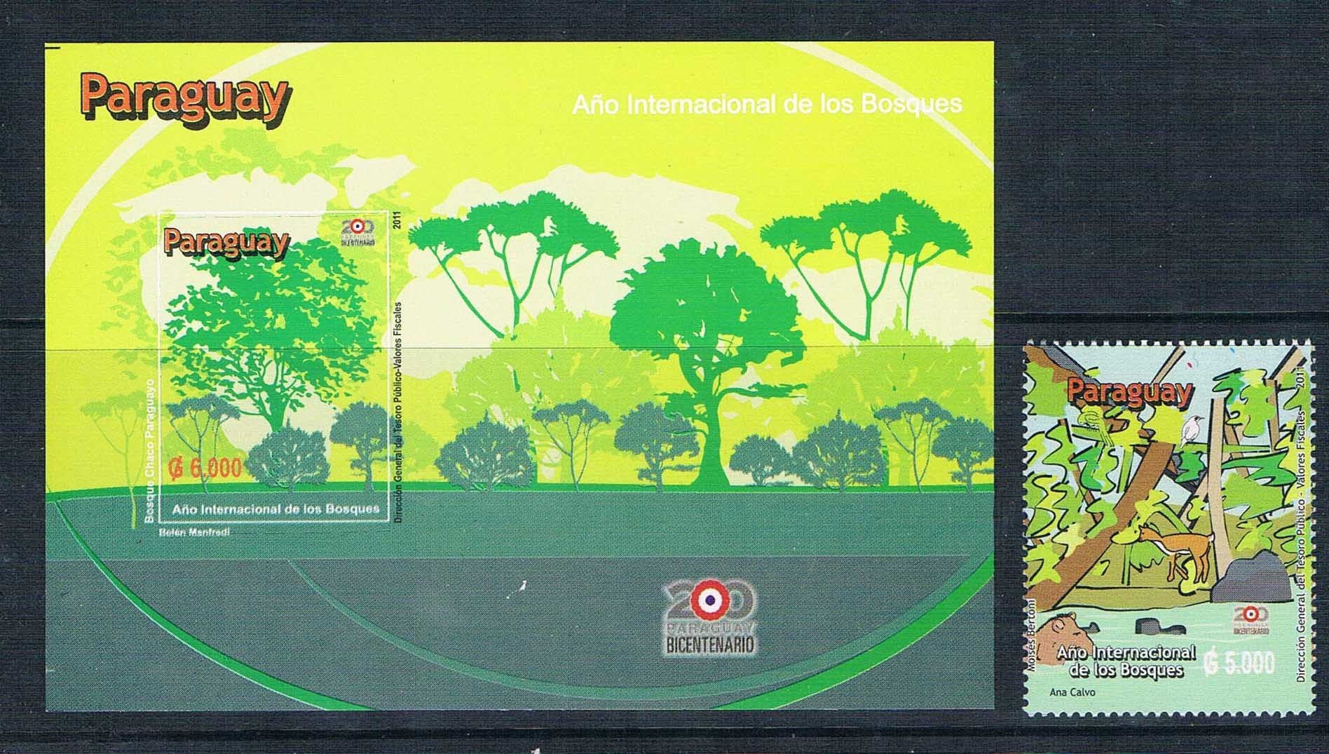 2011 the international year of forests stamps K0995 Paraguay 1 + M new 1024 купить