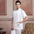 New White Chinese Men's Satin Wu Shu Shirt Vintage Kung Fu Tai Chi Tops Single Breasted Clothing S,M,L,XL,XXL,XXXL 2519-1