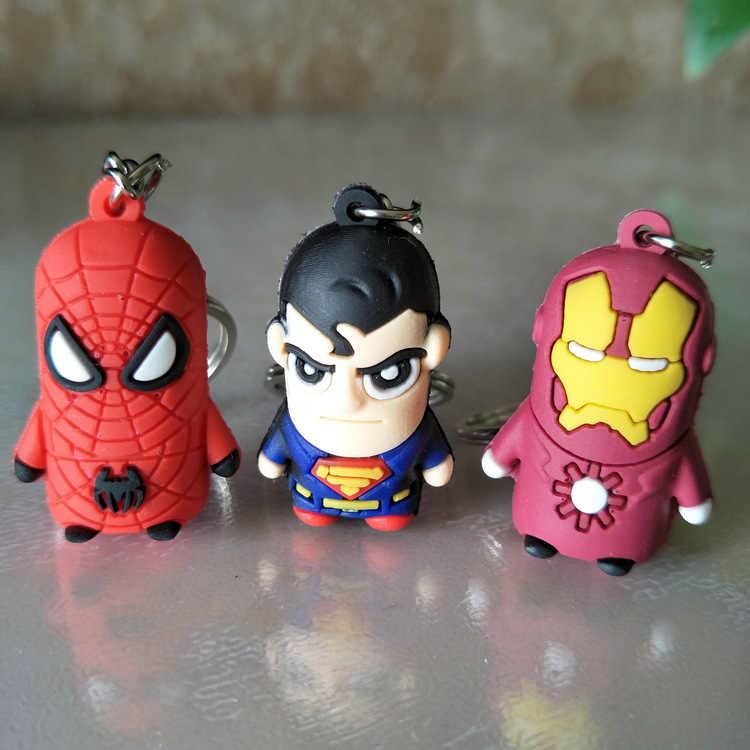 3D figura de caricatura PVC Los vengadores de Marvel llavero lindo Batman hombre araña clave cadena anillo niños clave titular baratija, regalo