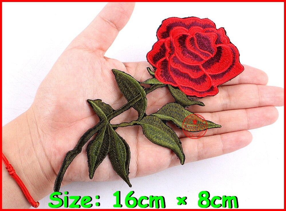 1 шт. топ пластыри утюг-на шить на красной розы вышивка патч мотив аппликация детей для женщин Сделай сам одежда стикеры свадебные