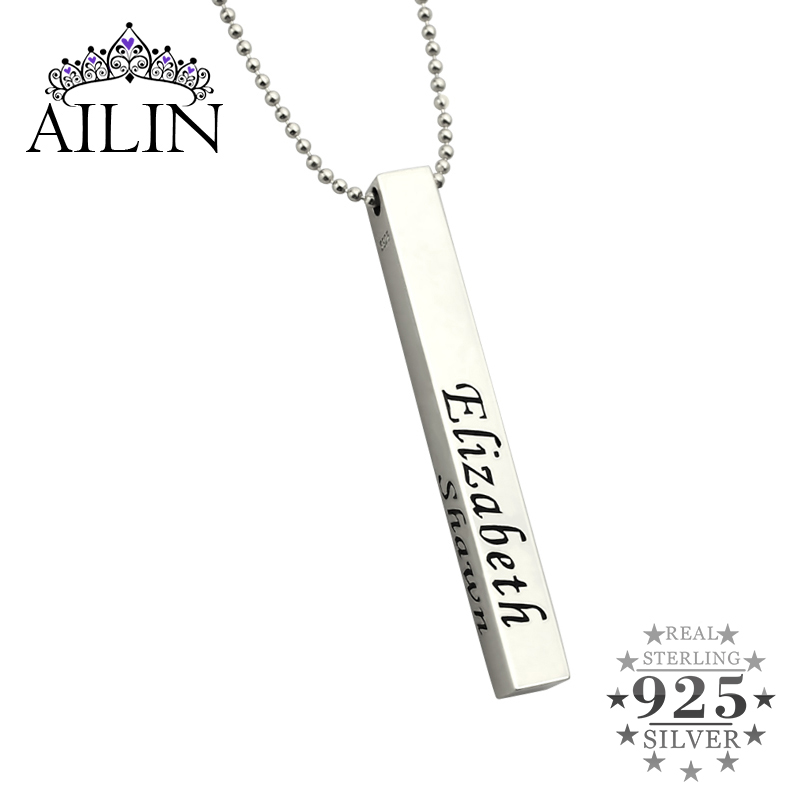 AILIN Sterling Silver Personalized Men's Bar Necklace Men's Family Name Necklace 4 Sided Bar Necklace Gift for Father vintage bar necklace