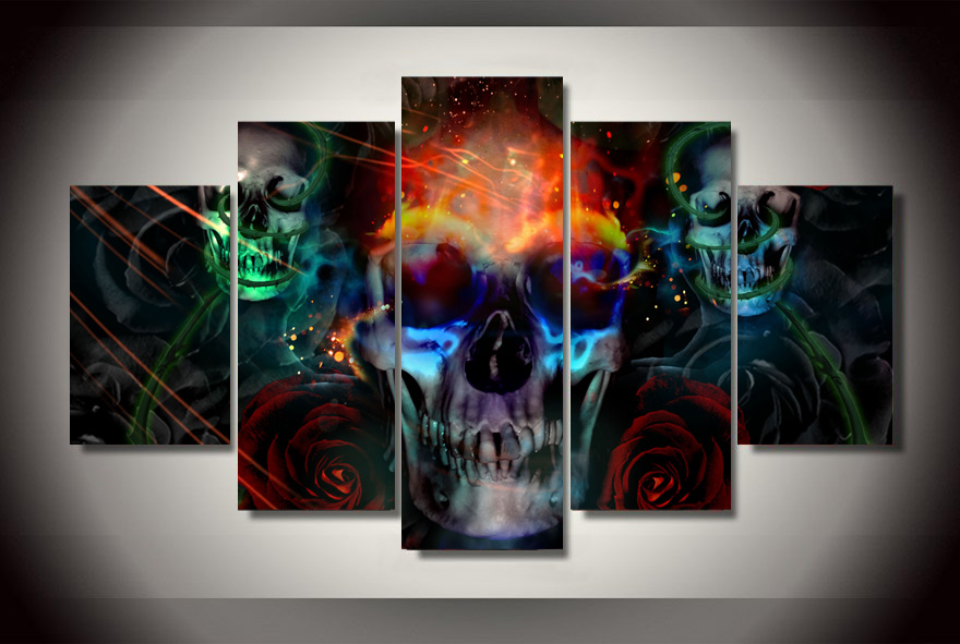 5 Pieces Canvas Prints Colorful Skull Painting Wall Art