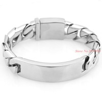 17MM Super Wide Shiny Bracelet Men Cool Punk Stainless Steel Jewelry Fashion New Men's Bracelets & Bangles Hand Chain