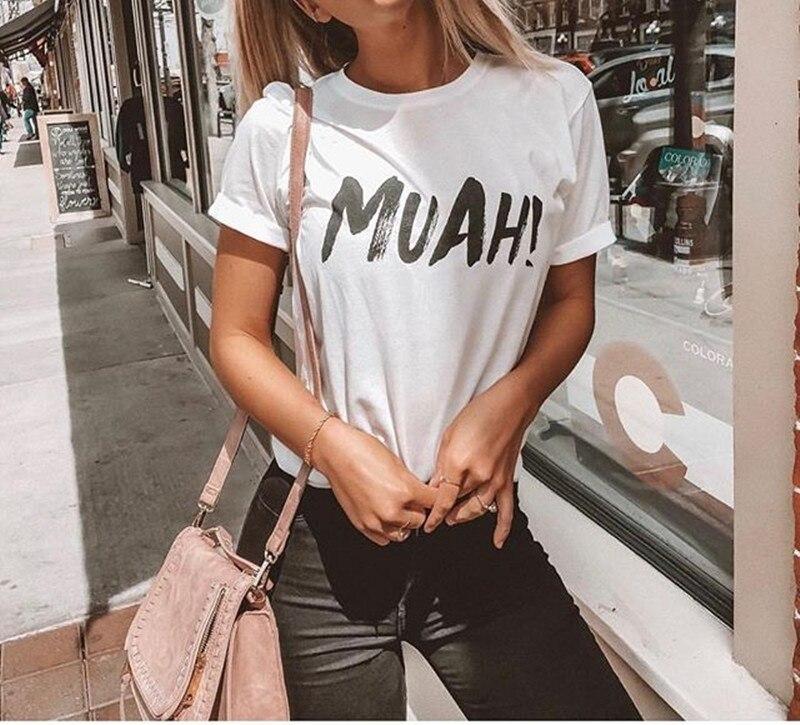2018 Hot Funny Women MUAH Letter Print Short Sleeve T Shirt Cotton White Punk Casual Basic T-shirt Summer Female Clothing Tops