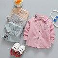 Primavera 2017 Coreano crianças manga comprida camisa do menino algodão camisa carta