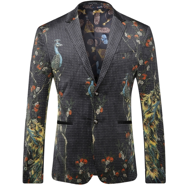 2016 Polka Dot Floral Peacok Impreso Hombres Blazers Moda Casual Diseñador de Marca Terno masculino T0109