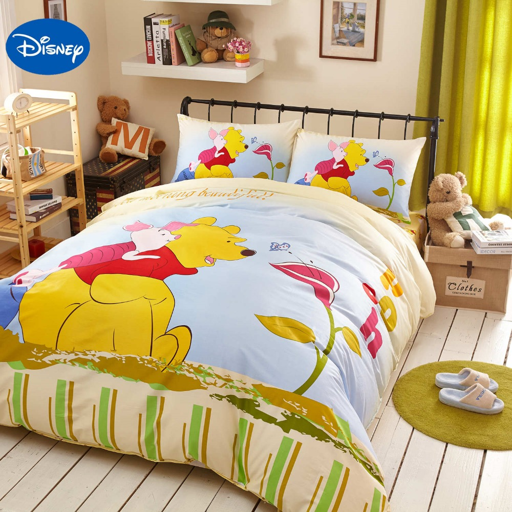 Winnie the pooh toddler bedding - Yellow Disney Cartoon Winnie The Pooh Bedding Set For Girls Bedroom Decor Cotton Bed Cover Comforter