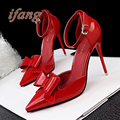 ifang Women Heels Pumps Casual Women's Shoes Bowtie Women Wedding Shoes 2016 Bridal High Heels High Heel Elegant Shoes Woman