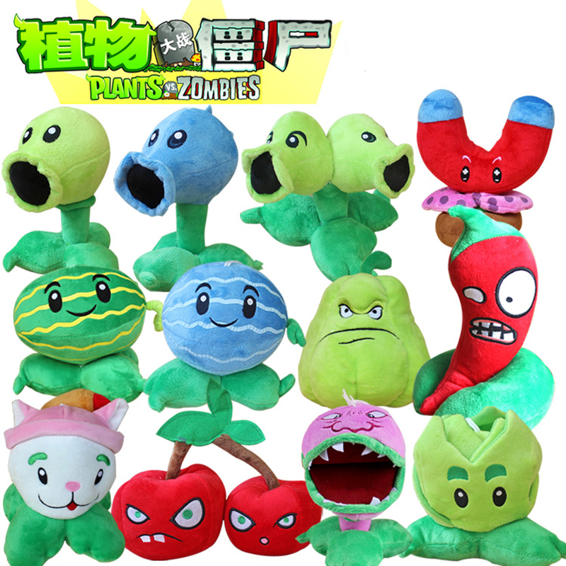 12pcs lot Plants vs Zombies Plush Toys PVZ Plants Peashooter Chomper Cattail Plush Stuffed Toys Doll