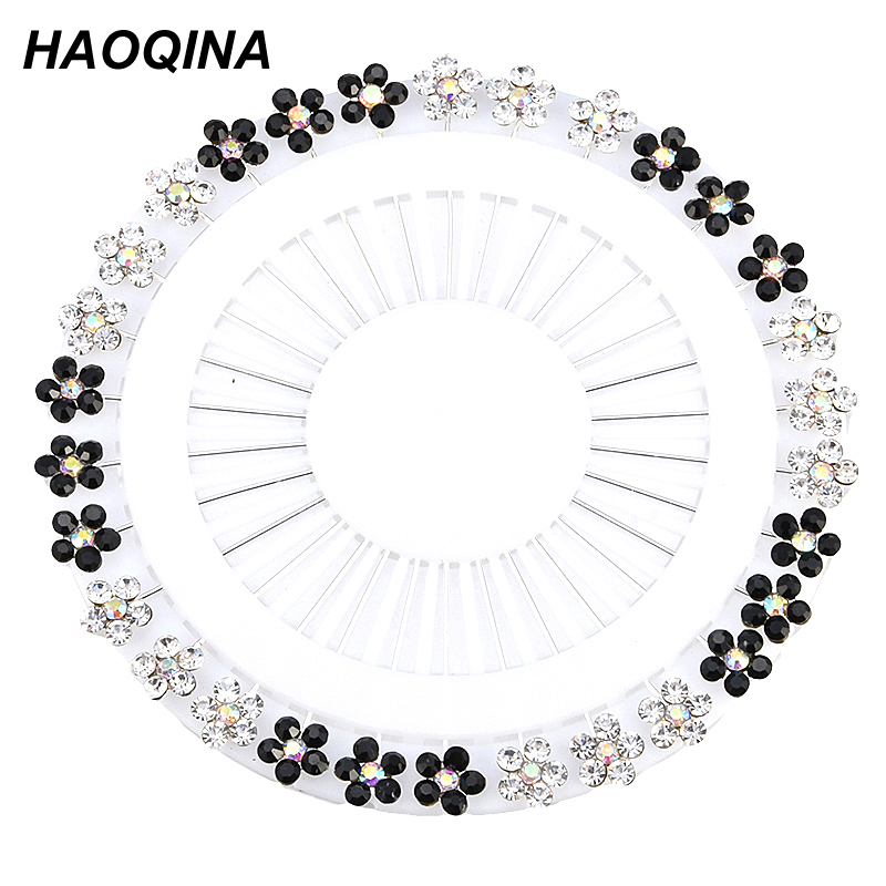 HAOQINA New Hijab Pins Wholesale 30PCS Flower Crystal Muslim Hijab Brooches For Women Safety Abaya Khimar Silver Pins Mix Color