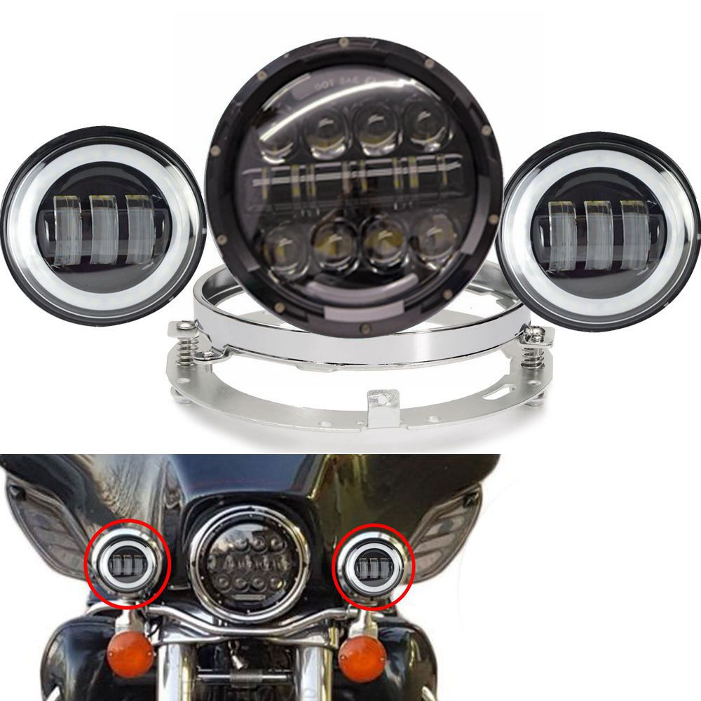 7 Inch LED Headlight+ 4.5 30w Fog Light Passing Lamps + Mount Ring for Harley Davidson Motorcycle,Softail Heritage,StreetGlide motorcycle voltage regulator rectifier for harley davidson heritage softail 1450 classic flstc1450 2001 2006 model 74610 01
