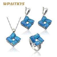 Australian Fire Blue Opal Silver Color Bridal Jewelry Sets Women White 2 Colors Earrings Necklace Pendant Ring Free Gift Box