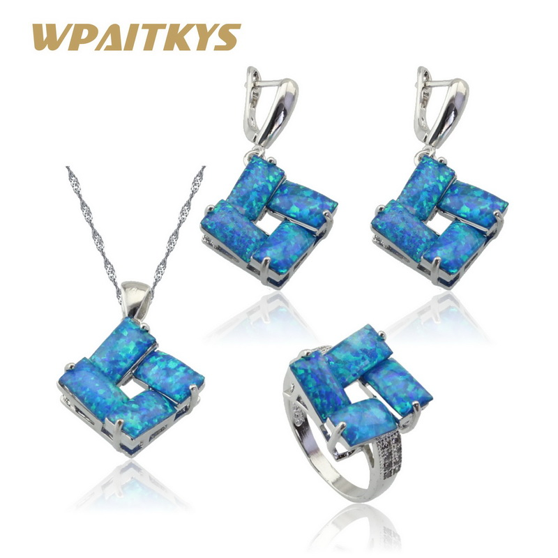 Australian Fire Blue Opal Silver Color Bridal Jewelry Sets Women White 2 Colors Earrings Necklace Pendant Ring Free Gift Box eiolzj white oval fire opal stone 925 sterling silver clip earrings for women bridal fashion jewelry free gift box three colors