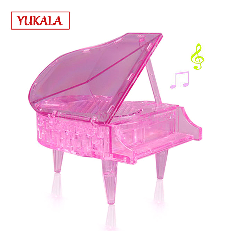 Free shipping 3d three-dimensional crystal puzzle educational toys creative gifts Piano music led the girls favorite model kids