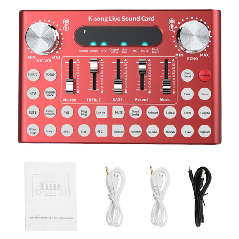 Professionelle Soundkarte Mikrofon Stimme Musik Audio Usb Headset Unterhaltung Karaoke Dampfer K-Song Live Soundkarte F007 (re
