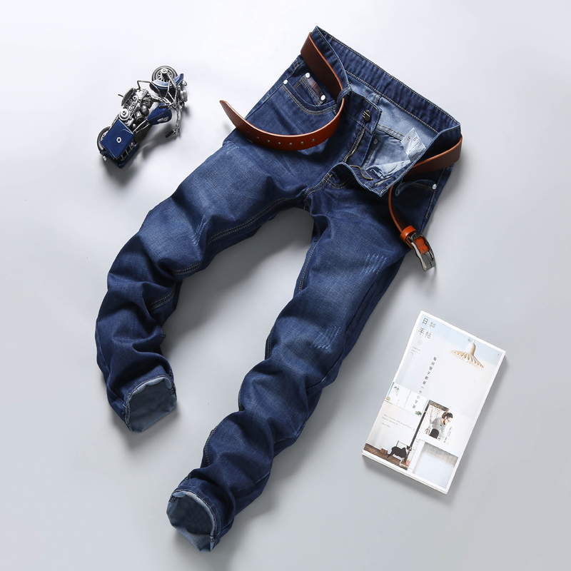 XMY3DWX Men Jeans Business Casual Thin Summer Straight Slim Fit Blue Jeans Stretch Denim Pants Trousers Classic Cowboys 28-38