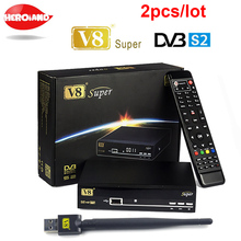 2pcs/lot  V8 Super decoder tv BOX HD Satellite Receiver DVB-S2 Tuner openbox v8 Super Combo Support USB wifi set top box