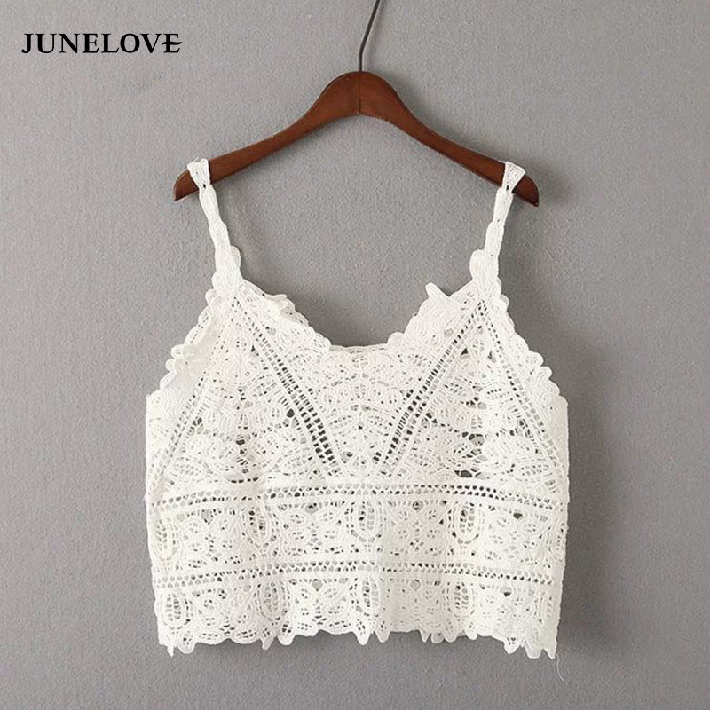 JuneLove 2018 Crochet condole camis top women hollow out tanks female casual tank tops