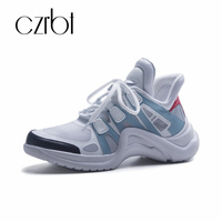 czrbt 2018 autumn new sneaker street style thick bottom leather casual shoes low top breathable mesh yarn color women's shoes