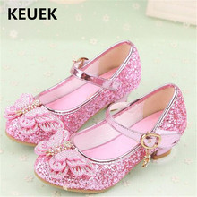 New Princess Leather Shoes Baby Party High-heeled Children Dance Shoes Student Dress Girls Crystal Toddler Kids Shoes 02C босоножки no pink crystal high heeled princess shoes