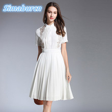 Top Quality Summer White Dress Women Brand Short Sleeve Casual Office Lady Temperament Embroidery Robe Black Dresses Clothing