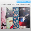 Fashion Painted Flip PU Leather For Huawei MediaPad M3 BTV-W09 BTV-DL09 8.4 inch Tablet PC Smart Case Cover + Stylus Pen + Film