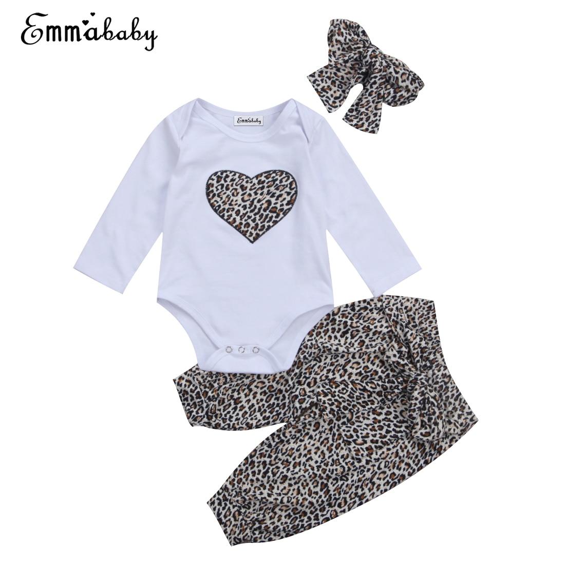 0-24M Cute Newborn Baby Kids Girls Clothes Set Leopard Heart Bodysuits Tops Long Pants Headband 3Pcs Cute Fashion Outfits Sets