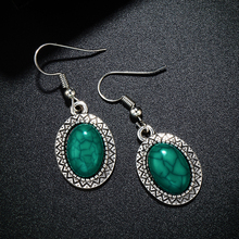 SHUANGR Ethnic Tibetan Silver Pendant Earrings Natural Stone Green Drop for Women Pendientes Turquoises Jewelry