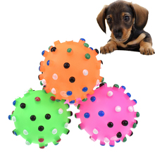 Random Color Squeak Toys For Dogs Silicone Vocal Small Spiky Ball Toy Puppy Pet Chew Diameter 7CM