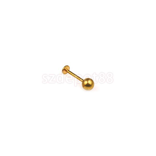 New 2014 Brand New 16 Gauge 1.2mm Ear Stud Labret Piercing Lip Ring Gold Free Shipping
