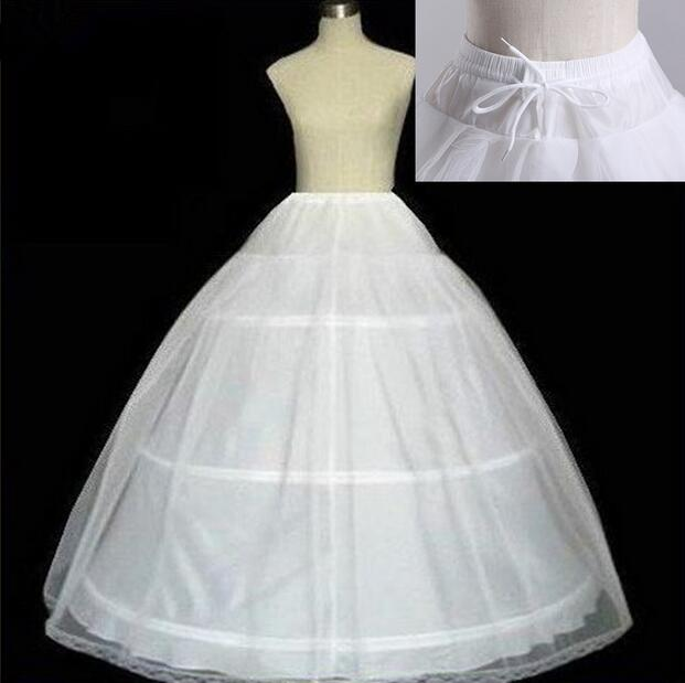 Free Shipping High Quality White 3 Hoops Petticoat Crinoline Slip Underskirt For Wedding Dress Bridal Gown In Stock 2018 CQ10