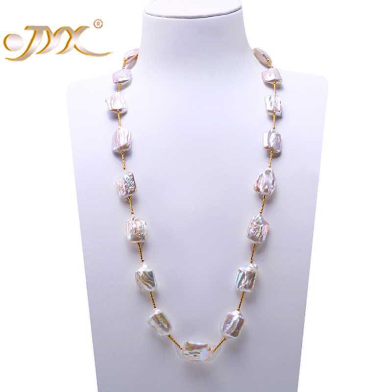 купить JYX Long Pearl Necklace White Baroque Freshwater Cultured Pearl Necklace Party Jewery Gift AAA недорого