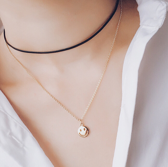 New fashion jewelry simple wild personality hollow smiley face new fashion jewelry simple wild personality hollow smiley face pendant necklace clavicle choker necklace wholesale 19098 in choker necklaces from jewelry aloadofball