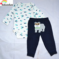Novo 2 pcs Define Bebê Meninos Meninas de Manga Longa bodysuit dinossauro + pp Calças do cão, 100% algodão newborn clothing sets, Casual Wear