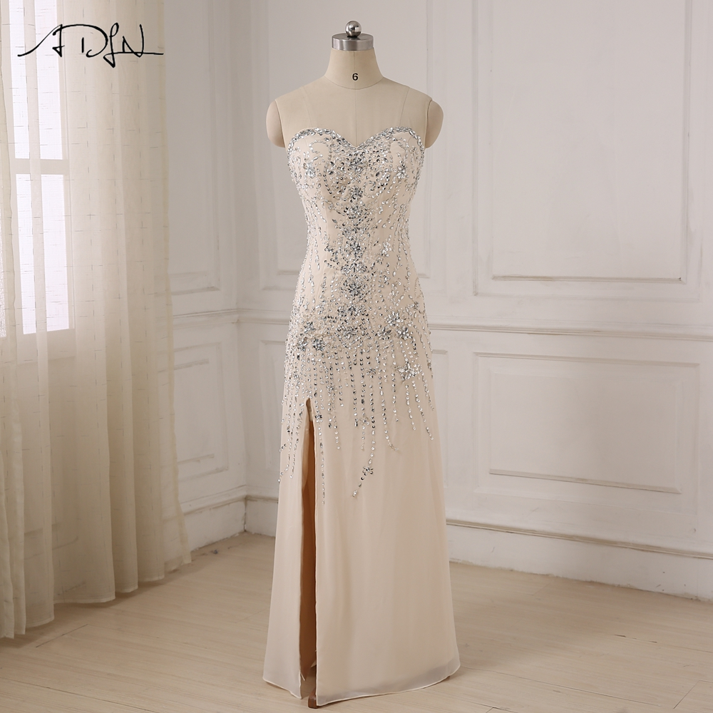 ADLN 2017 Sexy Luxury Evening Dresses Sweetheart Sleeveless Beaded Sequins Party Prom Dress with Side Slit