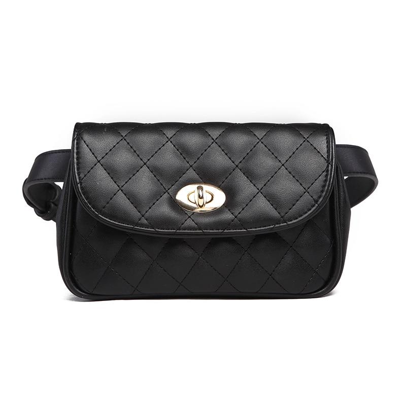 Vintage Waist Bag Women Grid PU Leather Belt Bag Waist Pack Travel Belt Wallets Fanny Bags Ladies Fit phones in Shoulder Bags from Luggage Bags