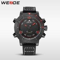WEIDE Red Genuine Watch Luxury Quartz Sport Digital Nylong Army Watch Water Resistant Alarm Clock Mens