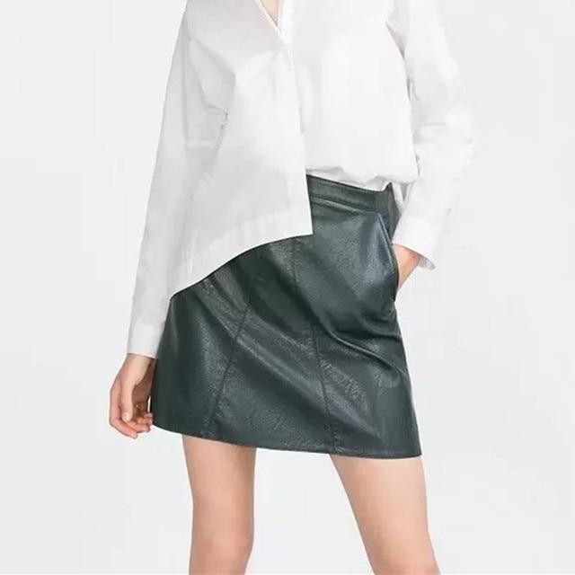 Nueva Europa Faldas Para Mujer 2016 Winter Lady Lkl251 Delgado Falda de Cuero de Moda Una Línea de Falda Corta
