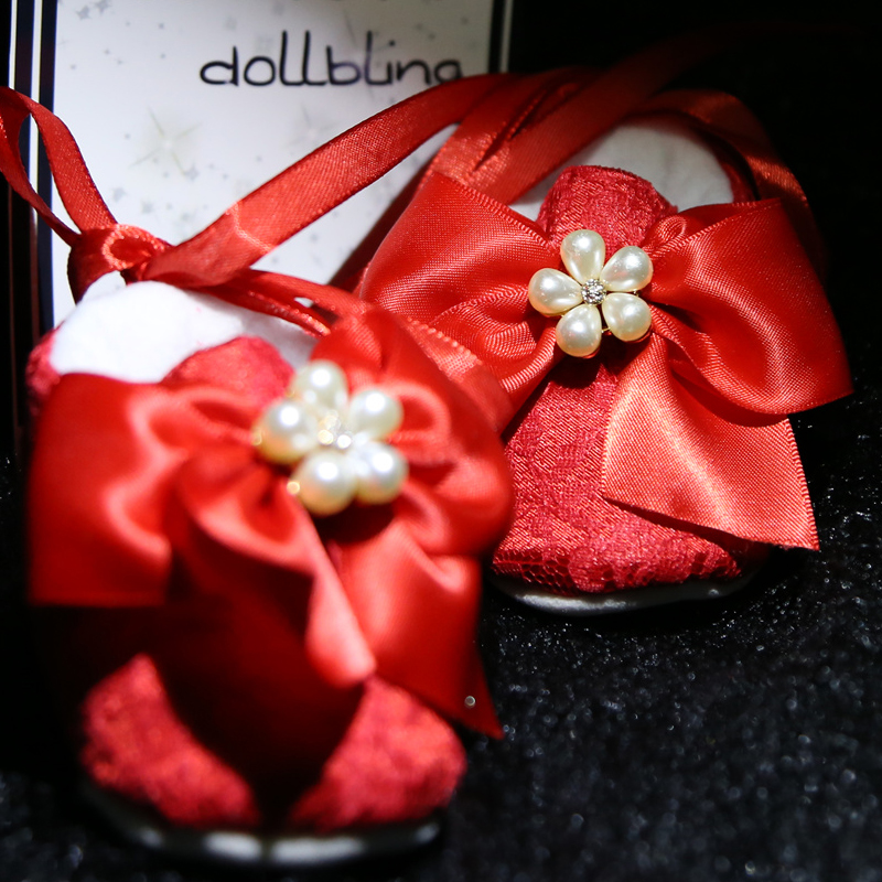 Dollbling Cute Booties Shoes Red Bow Bead Decoration Cotton Soft Bottom Baby Girl Shoes Comfortable Open Season Handmade