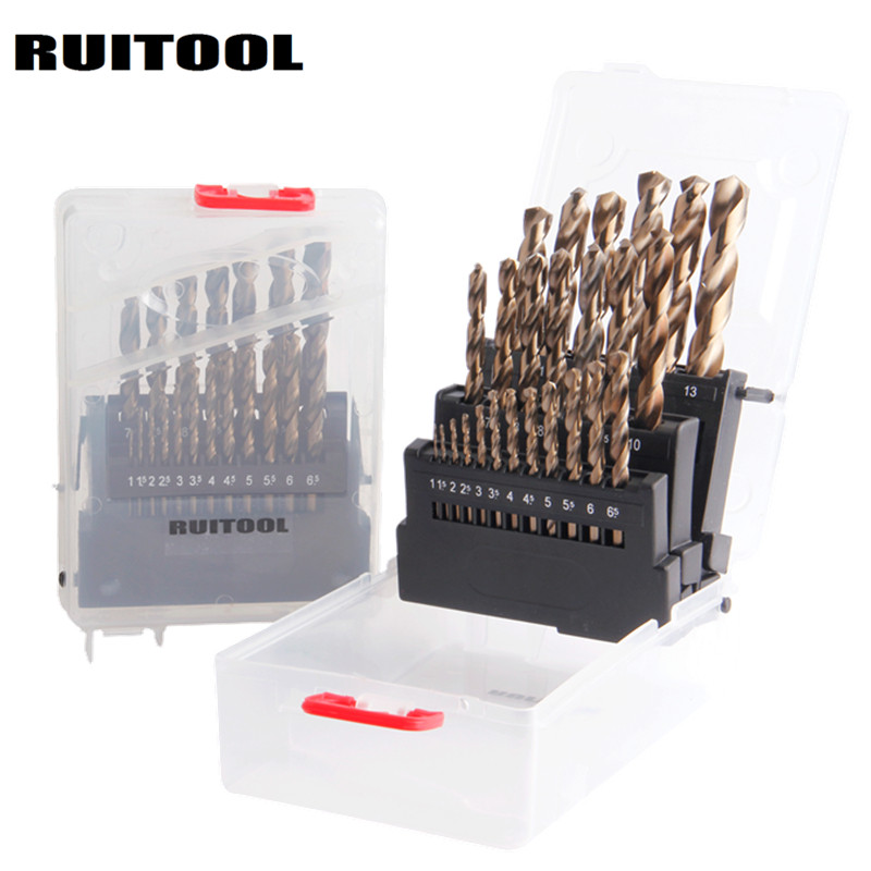 цена на RUITOOL 1-10mm/1-13mm Drill Bit Set Original M35 Cobalt Metal Cutter For Stainless Steel Wood Drilling Power Tools