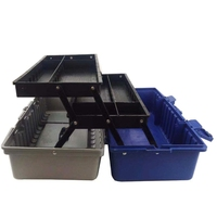Three layer plastic hardware toolbox multi function large Home repair electrician box car storage case art tool box