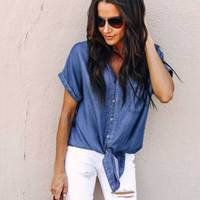 Women Sexy Blue Lightweight Denim Shirt Short Sleeve Tie Bow Bottom Jeans T shirt Summer Streetwear Casual Slim Pocket Tops